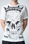 Sure Design Mens Crow Skull Tshirt White