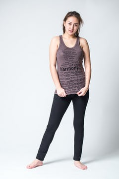 Sure Design Womens Infinitee Yoga Stamp Tank Top Brown
