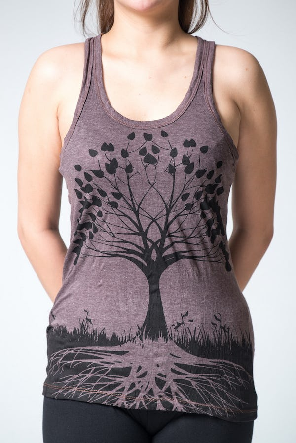 Sure Design Womens Tree Of Life Tank Top Brown