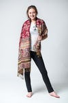 Nepal Floral Paisley Pashmina Shawl Scarf in Red