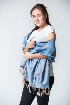 Hand Made Organic Cotton Shawl Scarf Navy