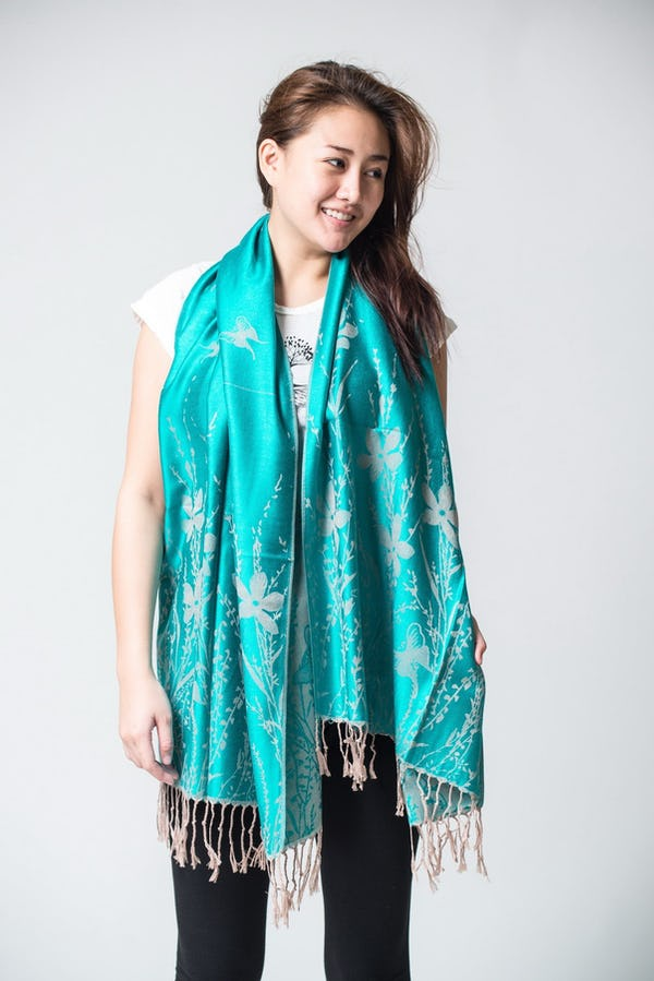 Nepal Floral Butterfly Pashmina Shawl Scarf in Turquoise