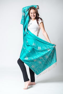 Thai Traditional Hand Made Silk Shawl Scarf Turquoise