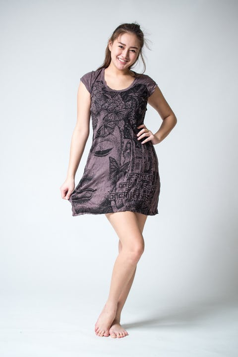 Womens Butterfly Buddha Dress in Brown