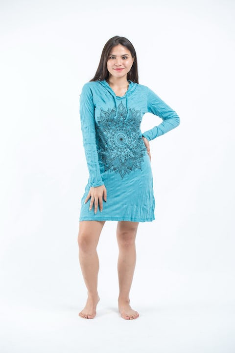 Sure Design Womens Lotus Mandala Hoodie Dress Turquoise