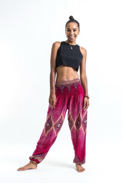 Diamond Peacock Unisex Harem Pants in Red