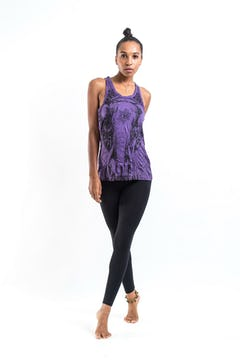 Super Soft Womens Tree Tank Top Purple