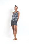 Sure Design Womens Octopus Tank Dress Silver on Black