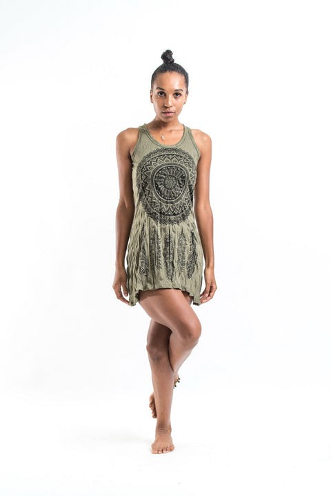 Sure Design Womens Tank Dress Dreamcatcher Green