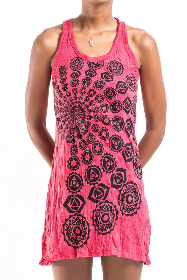 Sure Design Womens Chakra Fractal Tank Dress Red