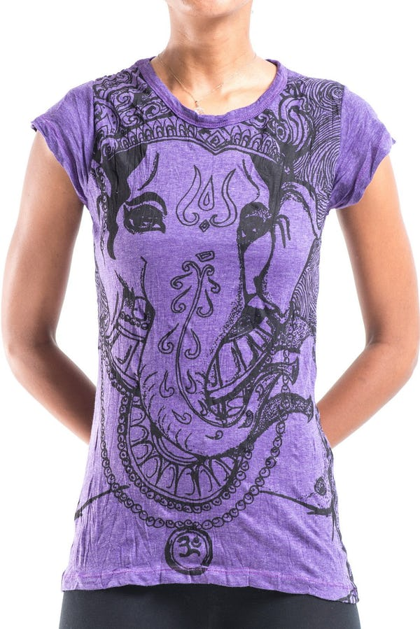 Sure Design Womens Big Face Ganesh T-Shirt Purple