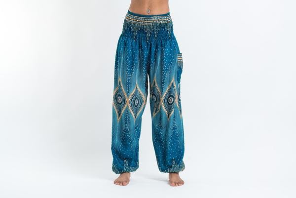 Diamond Peacock Unisex Harem Pants in Turquoise