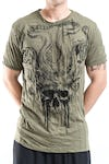 Sure Design Mens Hell Skull T-Shirt Green