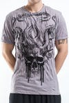 Sure Design Mens Hell Skull T-Shirt Gray