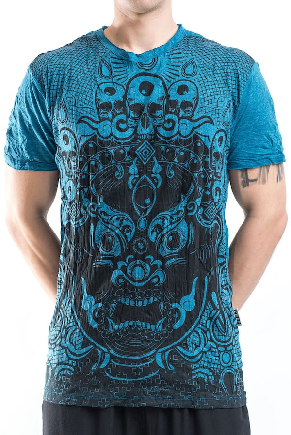 Sure Design Mens Face Giant T-Shirt Denim Blue