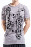 Sure Design Mens Tattoo Gecko T-Shirt Gray