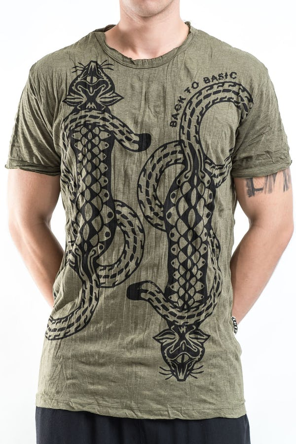 Sure Design Mens Tattoo Gecko T-Shirt Green