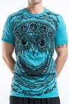 Mens Weed Owl T-Shirt in Turquoise