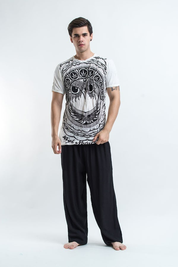 Mens Weed Owl T-Shirt in White