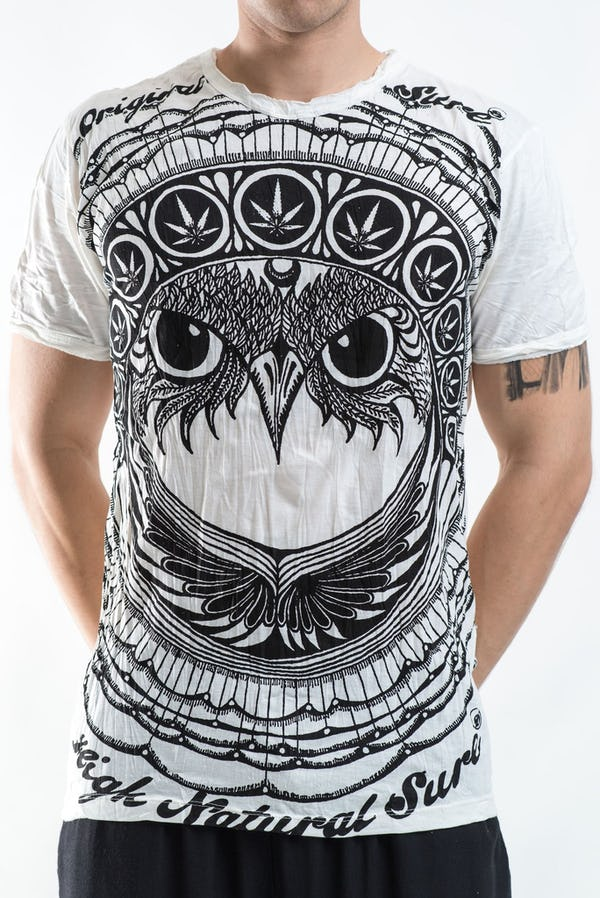 Sure Design Mens Weed Owl T-Shirt White