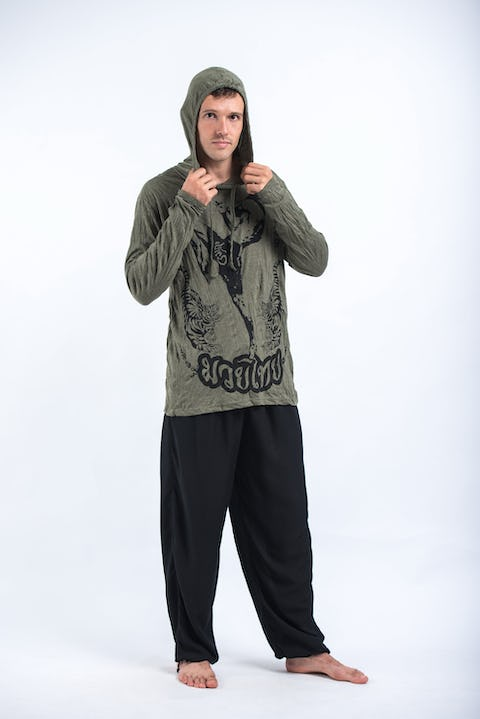 Sure Design Unisex Muay Thai Flying Knee Hoodie Green