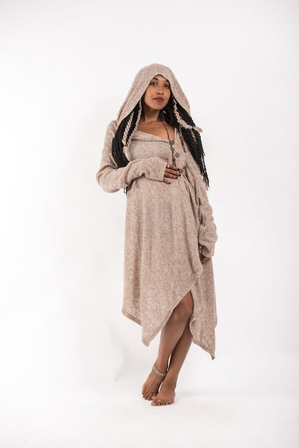 Hoodie Shawl With Side Button in Cream