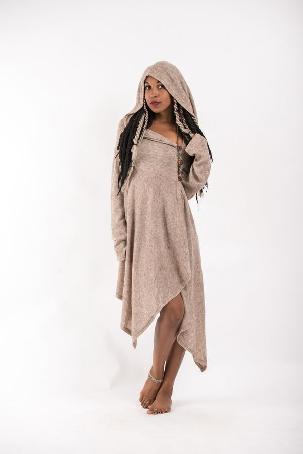 Hooded Pixie Sweater Dress in Cream