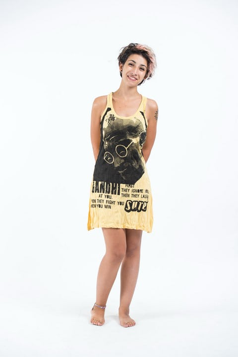 Womens Gandhi Tank Dress in Yellow
