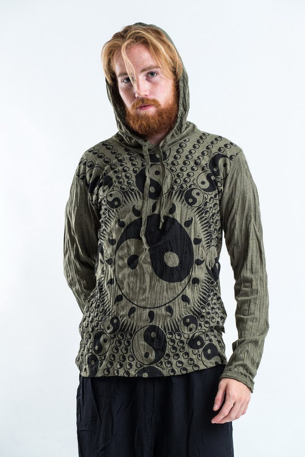 Sure Design Unisex Multi Yin Yang  Hoodie Green