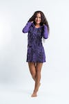 Womens Butterfly Buddha Hoodie Dress in Purple
