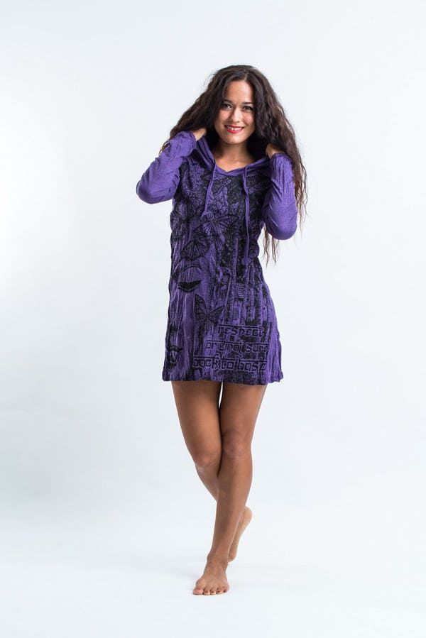 Sure Design Womens Butterfly Buddha Hoodie Dress Purple