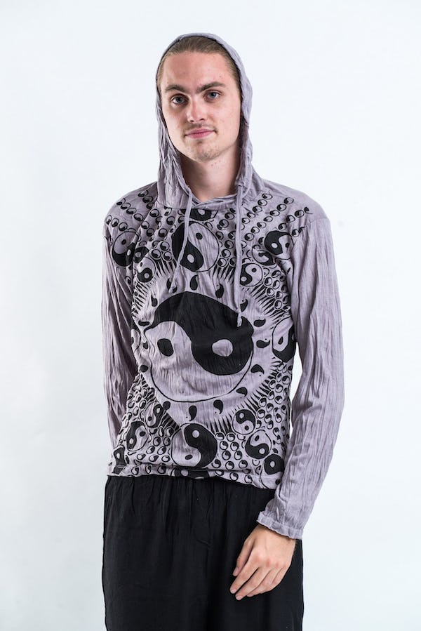 Sure Design Unisex Multi Yin Yang  Hoodie Gray