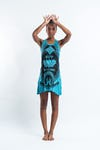 Sure Design Womens Lotus Hands Tank Dress Turquoise