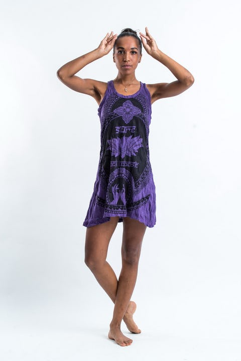 Sure Design Womens Lotus Hands Tank Dress Purple