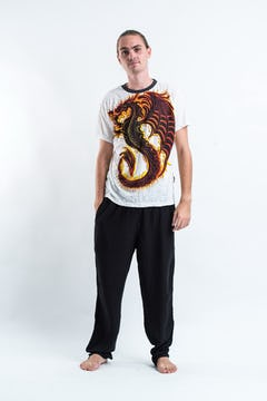 Sure Design Mens Dragon T-shirt Gray