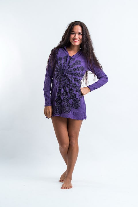 Sure Design Womens Chakra Fractal Hoodie Dress Purple