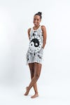 Sure Design Womens Multi Yin Yang Tank Dress White
