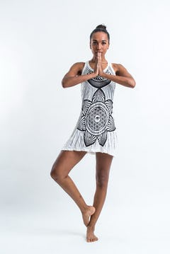 Womens Chakra Fractal Tank Dress in White