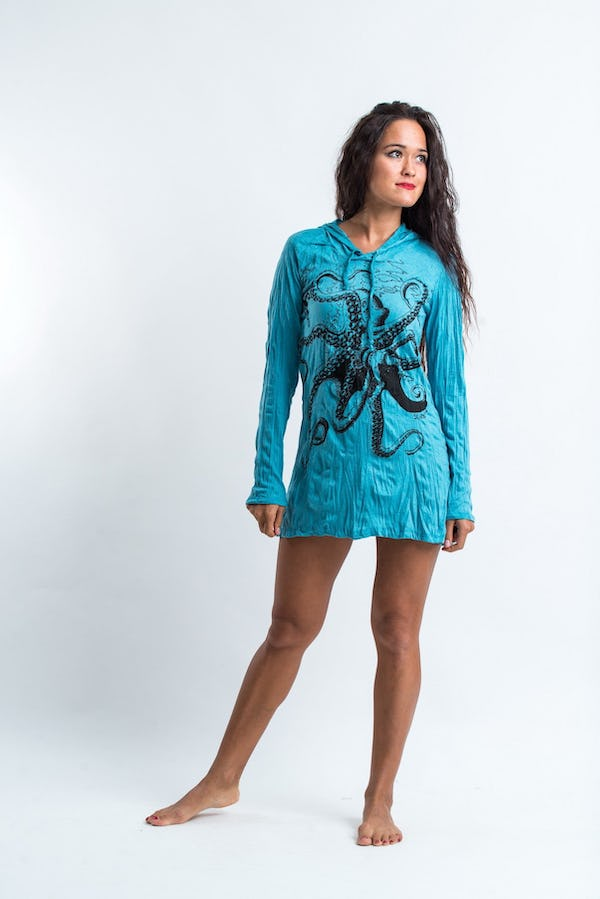 Sure Design Womens Octopus Hoodie Dress Turquoise