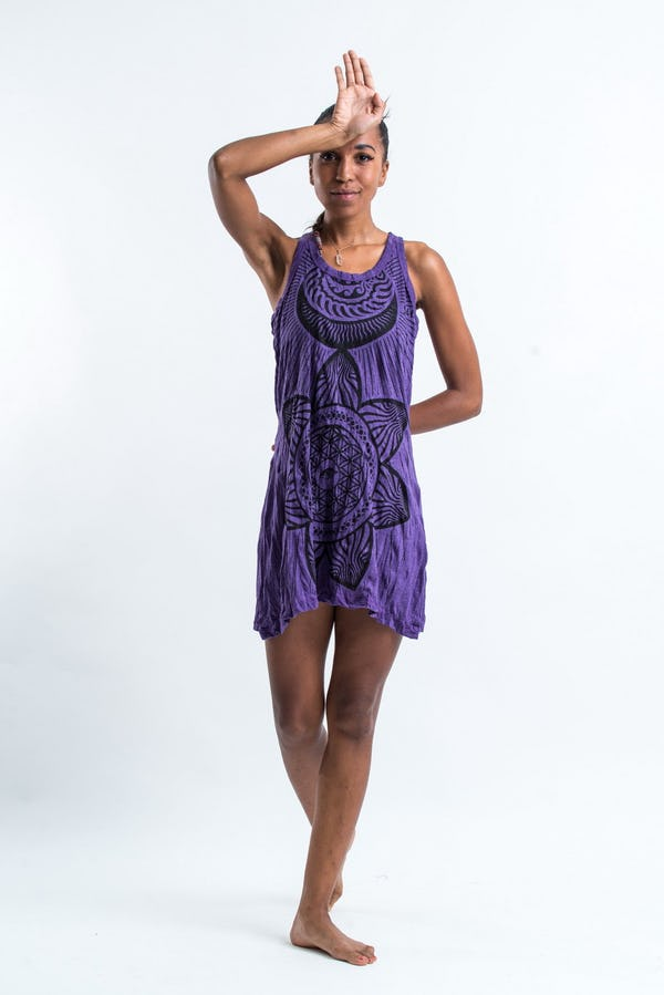 Sure Design Womens Sacred Geometry Mandala Tank Dress Purple