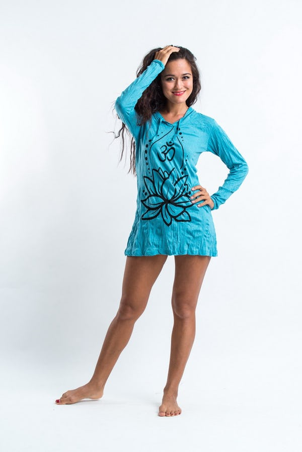 Sure Design Womens Lotus Ohm Hoodie Dress Turquoise