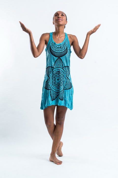 Sure Design Womens Sacred Geometry Mandala Tank Dress Turquoise