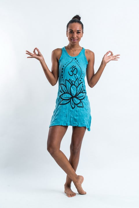 Sure Design Womens Lotus Ohm Tank Dress Turquoise