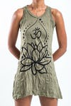 Sure Design Womens Lotus Ohm Tank Dress Green