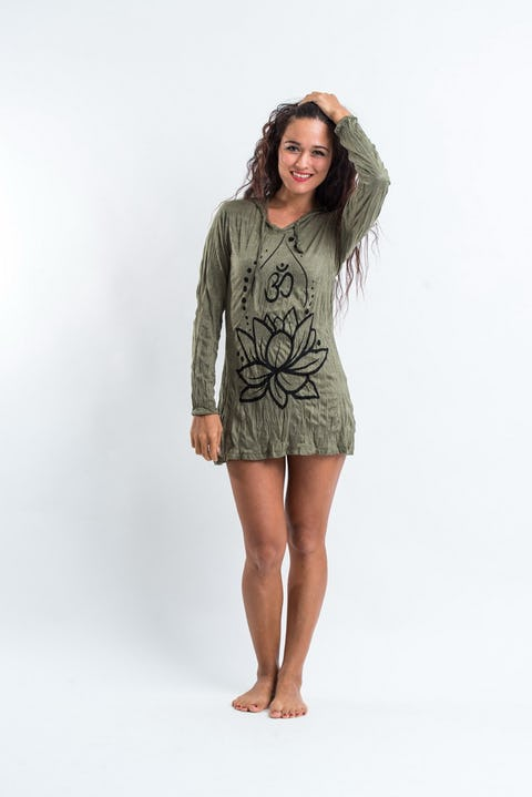 Sure Design Womens Lotus Ohm Hoodie Dress Green