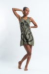 Sure Design Womens Abstract Ganesha Tank Dress Green
