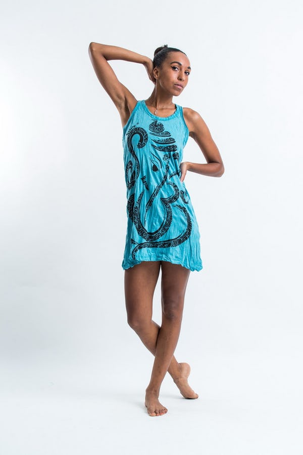 Sure Design Womens Abstract Ganesha Tank Dress Turquoise
