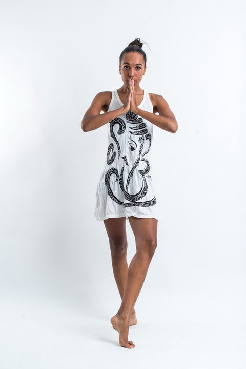 Sure Design Womens Abstract Ganesha Tank Dress White