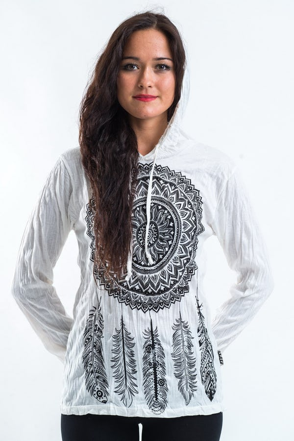 Sure Design Unisex Hoodie Dreamcatcher White