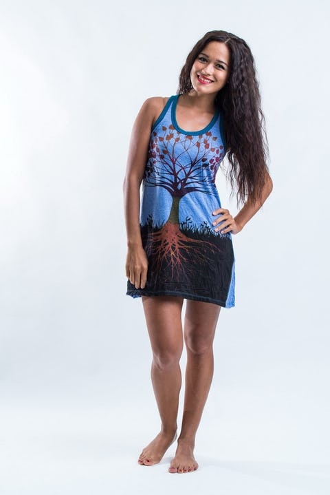 Sure Womens Tree of Life Tank Dress Blue